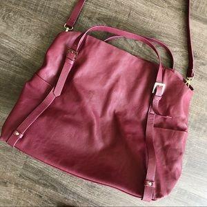 Zara Burgundy Faux Leather Soft Tote Bag